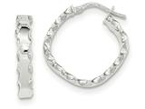 14k White Gold Scalloped Edge Square Hoop Earrings style: TH795
