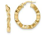14k Yellow Gold Polished And Textured Hoop Earrings style: TH796