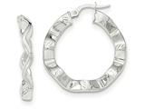 14k White Gold Polished And Textured Hoop Earrings style: TH797