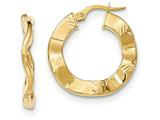 14k Polished And Textured Hoop Earrings style: TH798