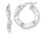 14k White Gold Polished And Textured Hoop Earrings style: TH799