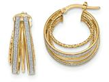 14k Polished Glitter Infused Textured Hoop Earrings style: TH802