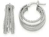 14k White Gold Polished Glitter Infused Textured Hoop Earrings style: TH803