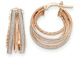 14k Rose Gold Polished Glitter Infused Textured Hoop Earrings style: TH804