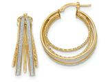 14k Polished Glitter Infused Round Hoop Earrings style: TH808