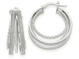 14k White Gold Polished Glitter Infused Round Hoop Earrings style: TH809