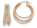 14k Rose Gold Polished Glitter Infused Round Hoop Earrings style: TH810