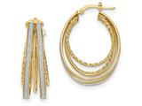 14k Polished Glitter Infused Large Oval Hoop Earrings style: TH811