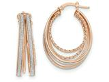 14k Rose Gold Polished Glitter Infused Large Oval Hoop Earrings style: TH812