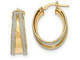 14k Polished Glitter Infused Small Oval Hoop Earrings style: TH813