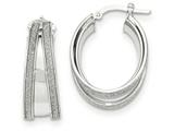 14k White Gold Polished Glitter Infused Small Oval Hoop Earrings style: TH814