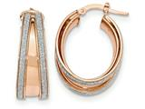 14k Rose Gold Polished Glitter Infused Small Oval Hoop Earrings style: TH815