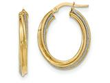 14k Polished Glitter Infused Twisted Oval Hoop Earrings style: TH816
