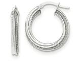 14k White Gold Polished Glitter Infused Twisted Small Round Hoop Earrings style: TH820