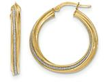 14k Polished Glitter Infused Twisted Large Round Hoop Earrings style: TH822