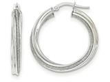 14k White Gold Polished Glitter Infused Twisted Large Round Hoop Earrings style: TH823