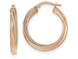 14k Rose Gold Polished Glitter Infused Twisted Large Round Hoop Earrings style: TH824