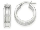 14k White Gold Polished Small Round Hoop Earrings style: TH826