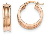 14k Rose Gold Polished Small Round Hoop Earrings style: TH827