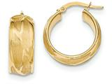 14k Textured Small Round Hoop Earrings style: TH828