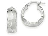 14k White Gold Textured Small Round Hoop Earrings style: TH829