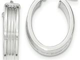 14k White Gold Polished Small Oval Hoop Earrings style: TH831