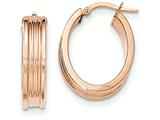 14k Rose Gold Polished Small Oval  Hoop Earrings style: TH832
