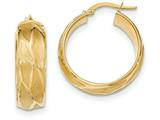 14k Textured Large Round Hoop Earrings style: TH833