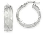 14k White Gold Textured Large Hoop Earrings style: TH834