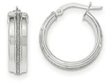 14k White Gold Polished Glitter Infused Hoop Earrings style: TH836