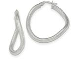 14k White Gold Textured Hoop Earrings style: TH841