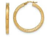 14k Polished and Satin Bright Cut Hoop Earrings style: TH842