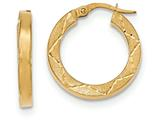 14k Polished and Satin Diamond Cut Hoop Earrings style: TH844
