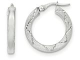 14k White Gold Polished And Satin Diamond Cut Hoop Earrings style: TH845
