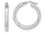 14k White Gold Polished And Satin Diamond Cut Hoop Earrings style: TH846