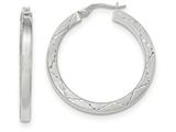 14k White Gold Polished And Satin Diamond Cut Hoop Earrings style: TH847