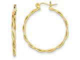 14k Polished And Twisted Circle Hoop Earrings style: TL597