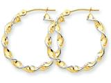 14k Polished 2.75mm Fancy Twisted Hoop Earrings style: TM233