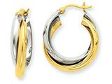 14k Two-tone Polished Double Hoop Earrings style: TM395