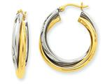 14k Two-tone Polished Double Hoop Earrings style: TM396