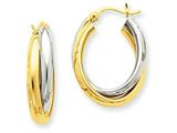 14k Two-tone Polished Double Oval Hoop Earrings style: TM398