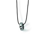 Chisel Tungsten Polished Leather Cord Necklace - 18 inches style: TUN110