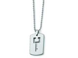 Chisel Tungsten Dog Tag with Key Cut - 22 inches