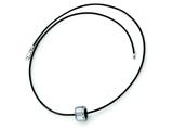 Chisel Tungsten Polished Leather Cord Necklace - 18 inches style: TUN112
