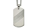 Chisel Tungsten Textured and Polished Dog Tag Necklace style: TUN11824