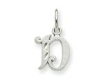 14k White Gold Diamond-cut Initial D Charm style: WCH139D