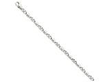 9 Inch 14k White Gold 5mm Polished Fancy Link Chain Ankle Bracelet style: WLK6919