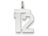 14k White Gold Medium Polished Number 12 Charm style: WLM12