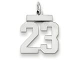 14k White Gold Small Polished Number 23 Charm style: WLS23