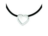 Sterling Silver Heart Black Rubber Necklace style: XG80